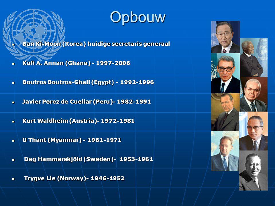 Opbouw Ban Ki-Moon (Korea) huidige secretaris generaal Ban Ki-Moon (Korea) huidige secretaris generaal Kofi A. Annan (Ghana) - 1997-2006 Kofi A. Annan