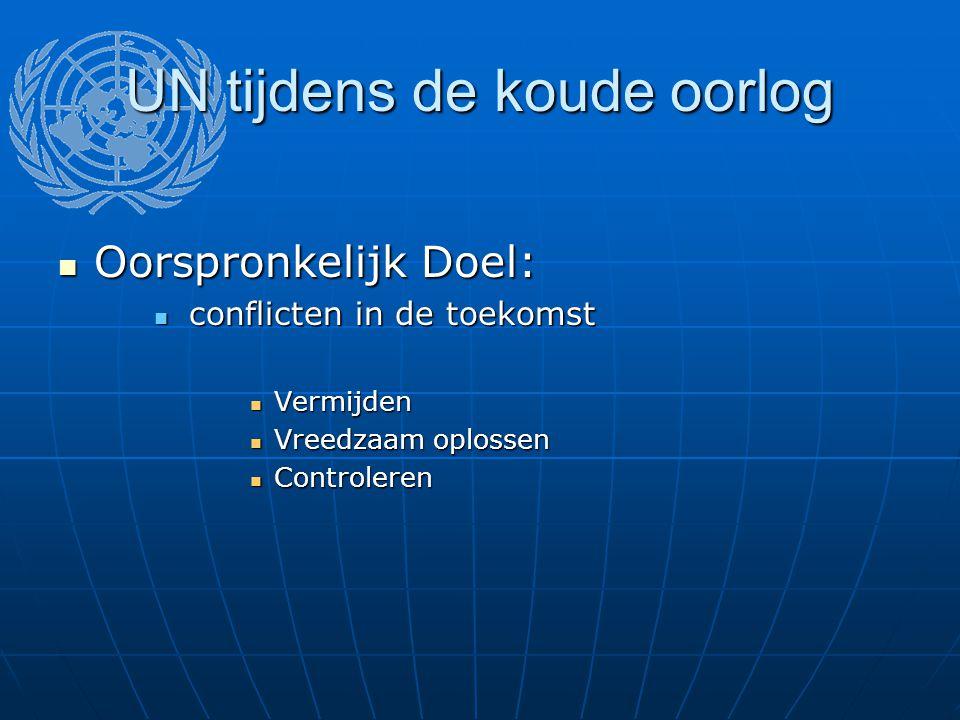 UN tijdens de koude oorlog Oorspronkelijk Doel: Oorspronkelijk Doel: conflicten in de toekomst conflicten in de toekomst Vermijden Vermijden Vreedzaam oplossen Vreedzaam oplossen Controleren Controleren