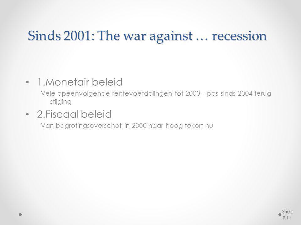 Sinds 2001: The war against … recession 1.Monetair beleid Vele opeenvolgende rentevoetdalingen tot 2003 – pas sinds 2004 terug stijging 2.Fiscaal beleid Van begrotingsoverschot in 2000 naar hoog tekort nu Slide #11