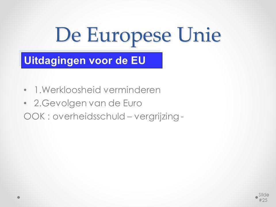 De Europese Unie 1.Werkloosheid verminderen 2.Gevolgen van de Euro OOK : overheidsschuld – vergrijzing - Slide #25 Uitdagingen voor de EU