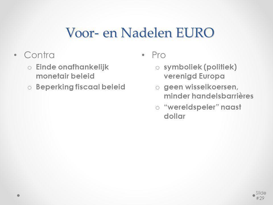 Voor- en Nadelen EURO Pro o symboliek (politiek) verenigd Europa o geen wisselkoersen, minder handelsbarrières o wereldspeler naast dollar Slide #29 Contra o Einde onafhankelijk monetair beleid o Beperking fiscaal beleid