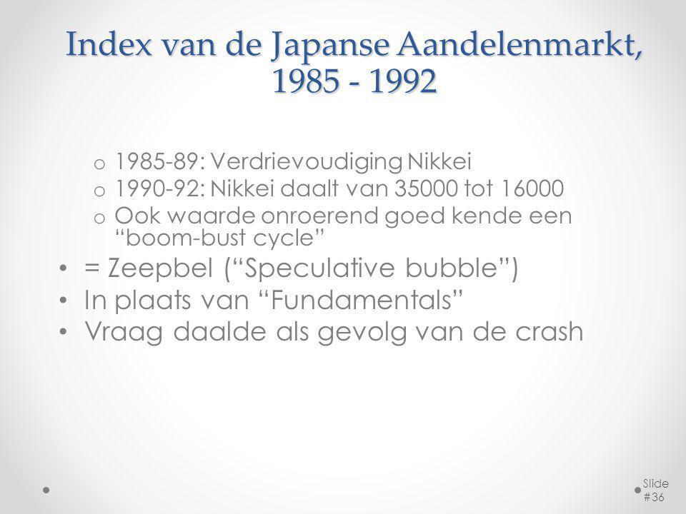 Index van de Japanse Aandelenmarkt, 1985 - 1992 o 1985-89: Verdrievoudiging Nikkei o 1990-92: Nikkei daalt van 35000 tot 16000 o Ook waarde onroerend