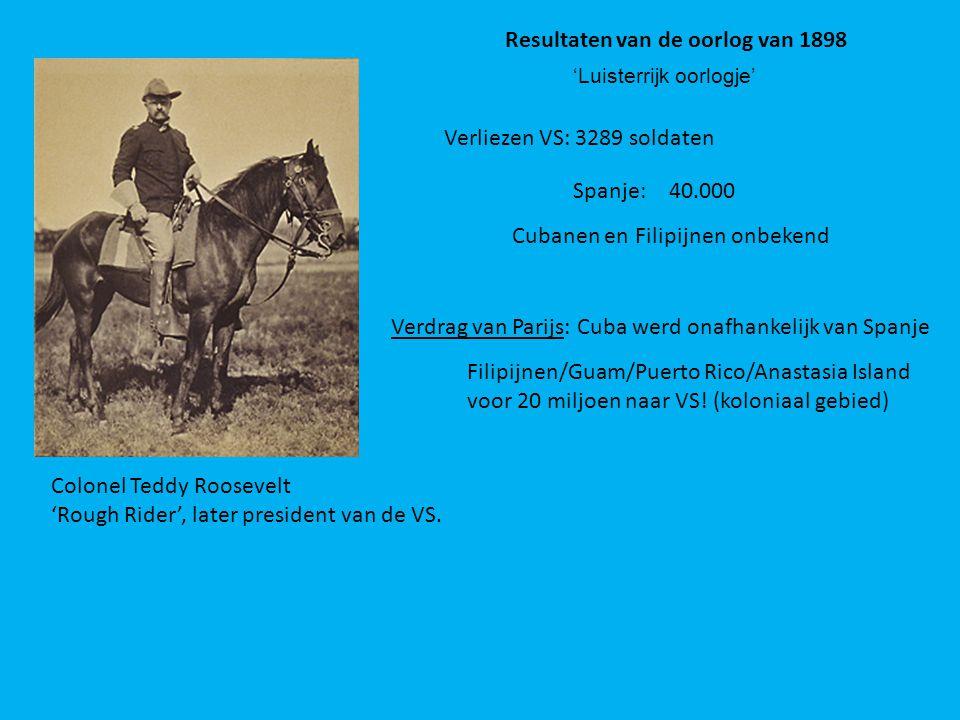 Colonel Teddy Roosevelt 'Rough Rider', later president van de VS. Resultaten van de oorlog van 1898 Verliezen VS: 3289 soldaten Spanje: 40.000 Cubanen