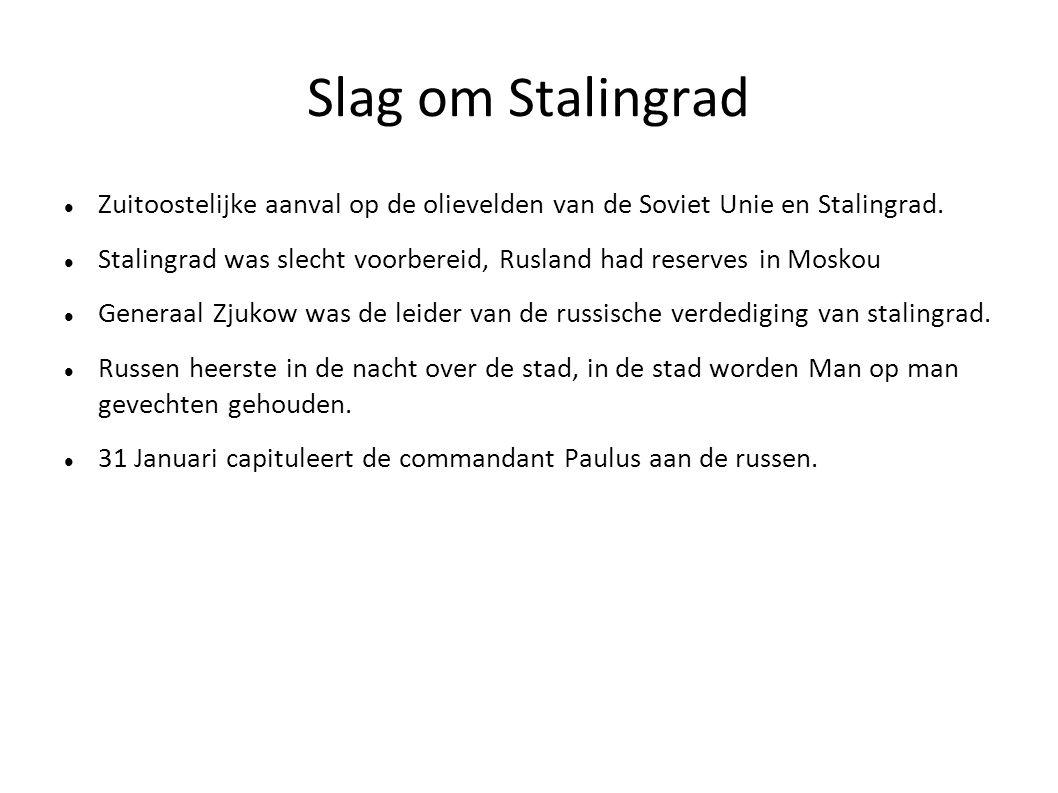 Slag om Stalingrad Zuitoostelijke aanval op de olievelden van de Soviet Unie en Stalingrad. Stalingrad was slecht voorbereid, Rusland had reserves in