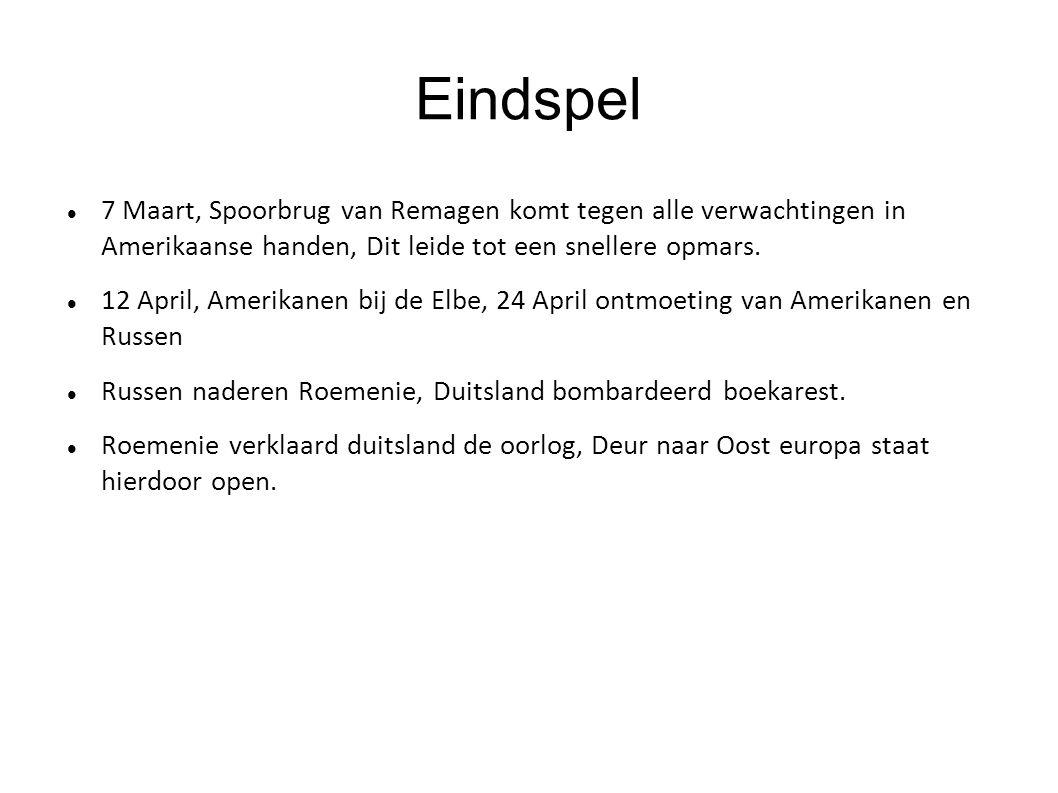 Eindspel 7 Maart, Spoorbrug van Remagen komt tegen alle verwachtingen in Amerikaanse handen, Dit leide tot een snellere opmars. 12 April, Amerikanen b