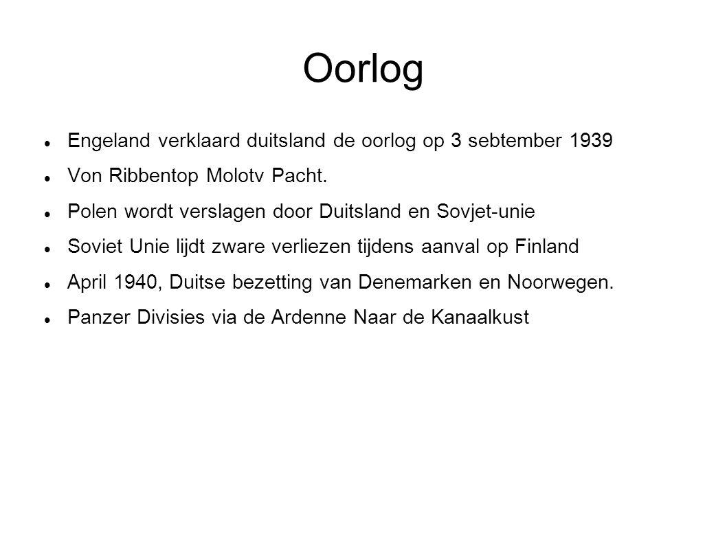 Oorlog Engeland verklaard duitsland de oorlog op 3 sebtember 1939 Von Ribbentop Molotv Pacht. Polen wordt verslagen door Duitsland en Sovjet-unie Sovi