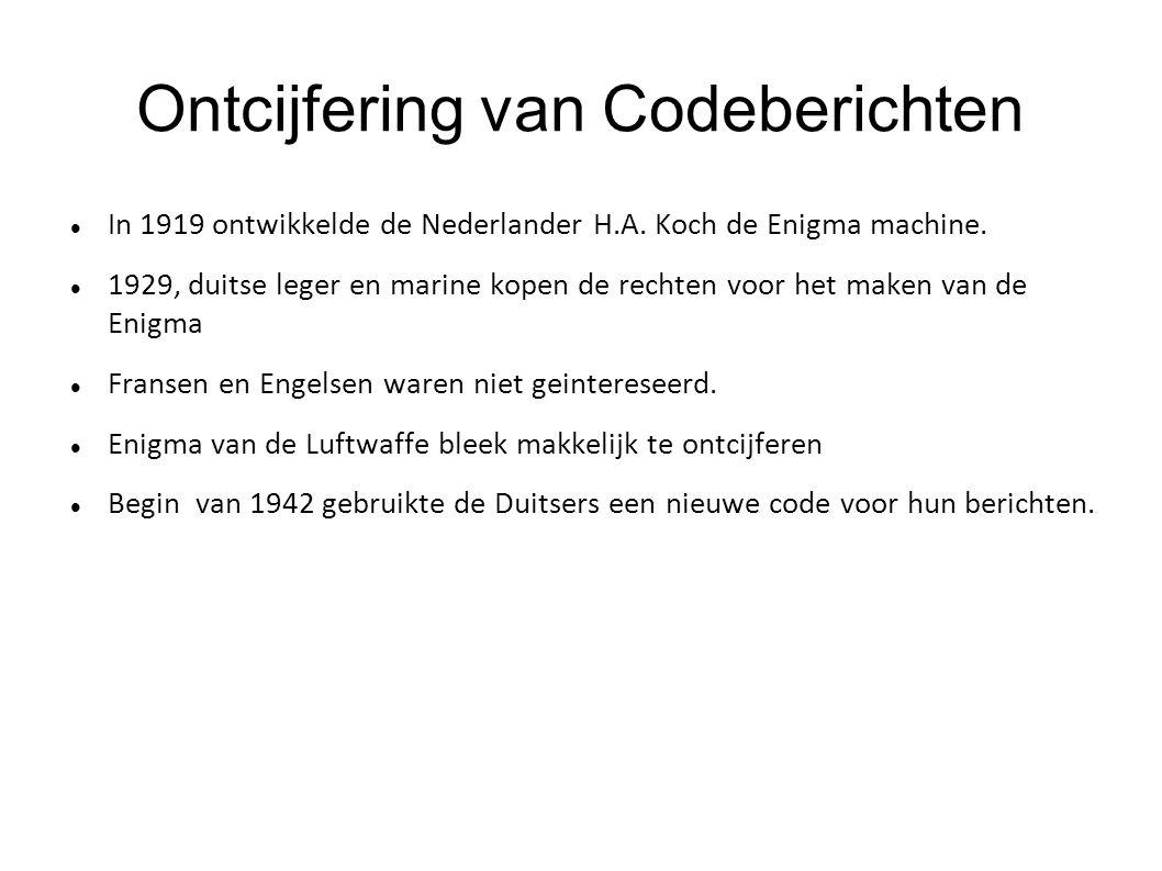 Ontcijfering van Codeberichten In 1919 ontwikkelde de Nederlander H.A. Koch de Enigma machine. 1929, duitse leger en marine kopen de rechten voor het
