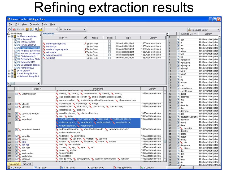 Refining extraction results 10