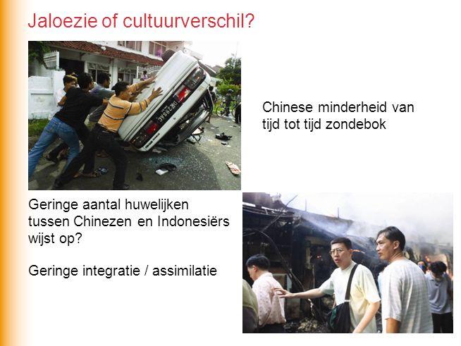 Chinese minderheid van tijd tot tijd zondebok Geringe aantal huwelijken tussen Chinezen en Indonesiërs wijst op? Geringe integratie / assimilatie Jalo