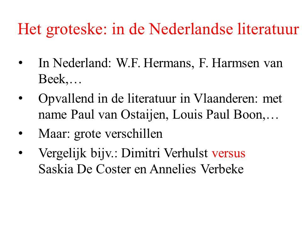 Het groteske: in de Nederlandse literatuur In Nederland: W.F. Hermans, F. Harmsen van Beek,… Opvallend in de literatuur in Vlaanderen: met name Paul v