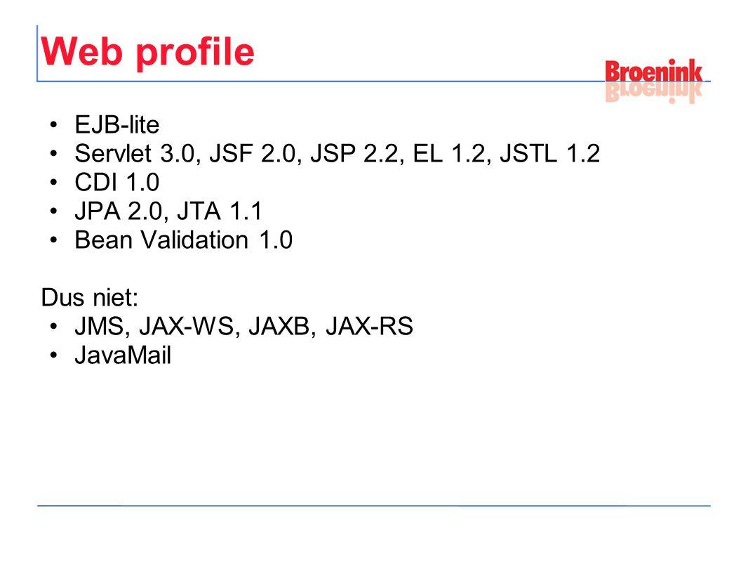 Web profile EJB-lite Servlet 3.0, JSF 2.0, JSP 2.2, EL 1.2, JSTL 1.2 CDI 1.0 JPA 2.0, JTA 1.1 Bean Validation 1.0 Dus niet: JMS, JAX-WS, JAXB, JAX-RS