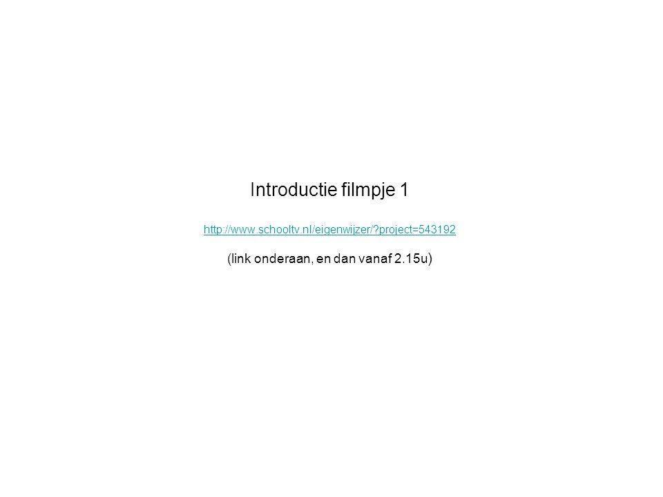 Introductie filmpje 1 http://www.schooltv.nl/eigenwijzer/?project=543192 (link onderaan, en dan vanaf 2.15u ) http://www.schooltv.nl/eigenwijzer/?proj