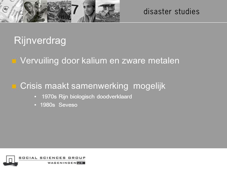 Rijnverdrag Vervuiling door kalium en zware metalen Crisis maakt samenwerking mogelijk 1970s Rijn biologisch doodverklaard 1980s Seveso