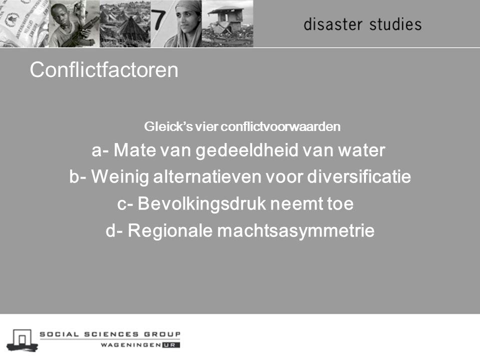 Conflictfactoren Gleick's vier conflictvoorwaarden a- Mate van gedeeldheid van water b- Weinig alternatieven voor diversificatie c- Bevolkingsdruk nee