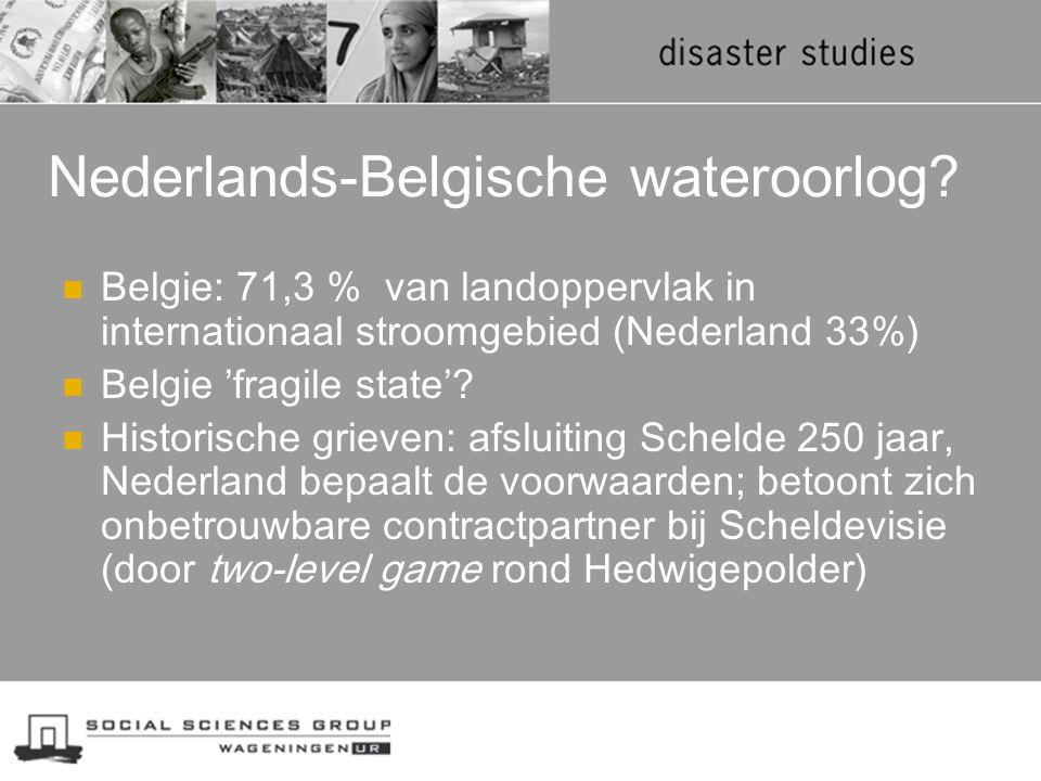 Nederlands-Belgische wateroorlog? Belgie: 71,3 % van landoppervlak in internationaal stroomgebied (Nederland 33%) Belgie 'fragile state'? Historische