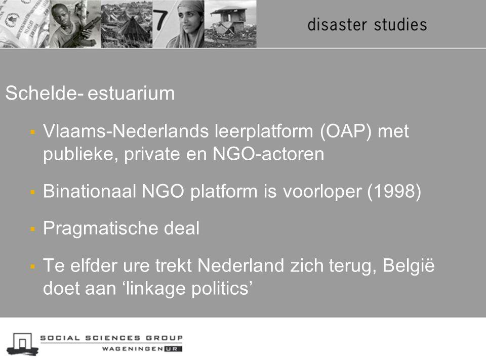  Vlaams-Nederlands leerplatform (OAP) met publieke, private en NGO-actoren  Binationaal NGO platform is voorloper (1998)  Pragmatische deal  Te el