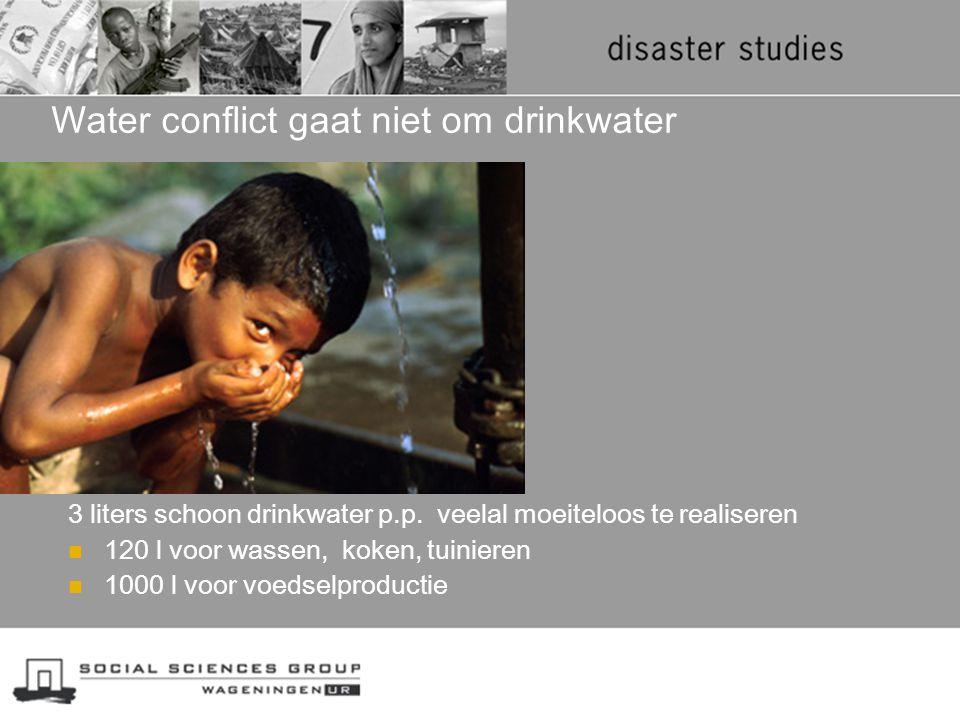 Water conflict gaat niet om drinkwater 3 liters schoon drinkwater p.p. veelal moeiteloos te realiseren 120 l voor wassen, koken, tuinieren 1000 l voor