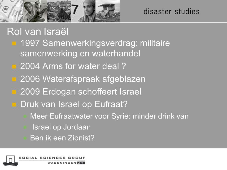 Rol van Israël 1997 Samenwerkingsverdrag: militaire samenwerking en waterhandel 2004 Arms for water deal ? 2006 Waterafspraak afgeblazen 2009 Erdogan