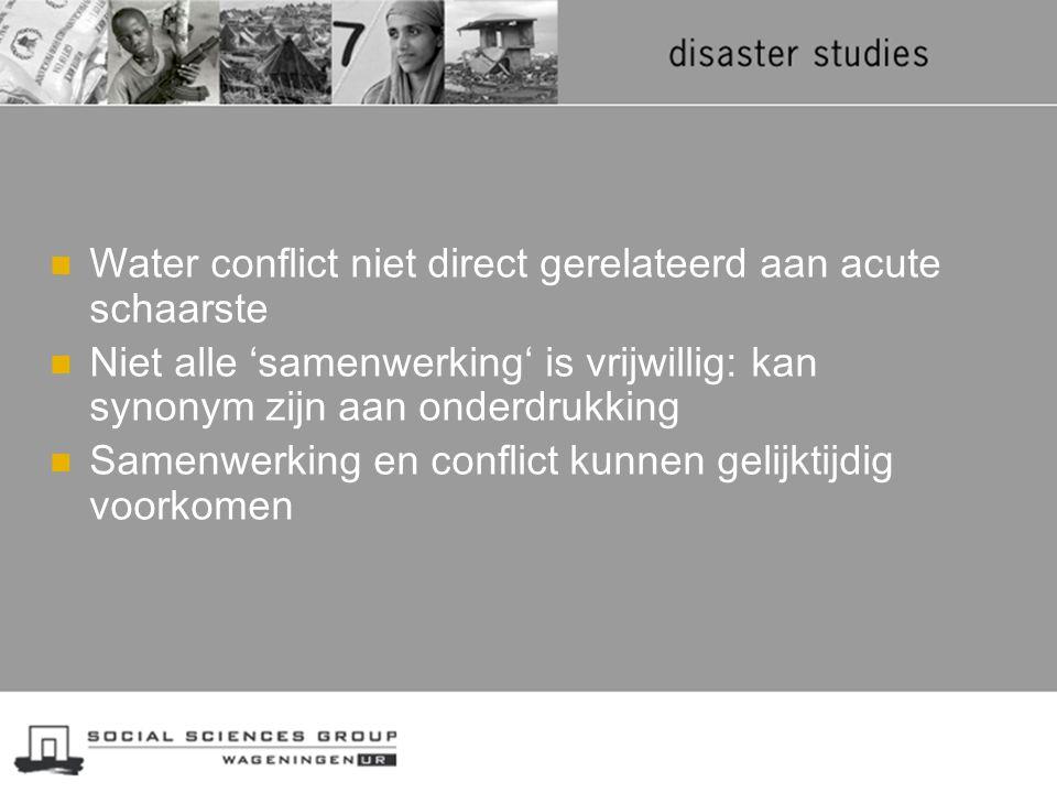 Water conflict niet direct gerelateerd aan acute schaarste Niet alle 'samenwerking' is vrijwillig: kan synonym zijn aan onderdrukking Samenwerking en