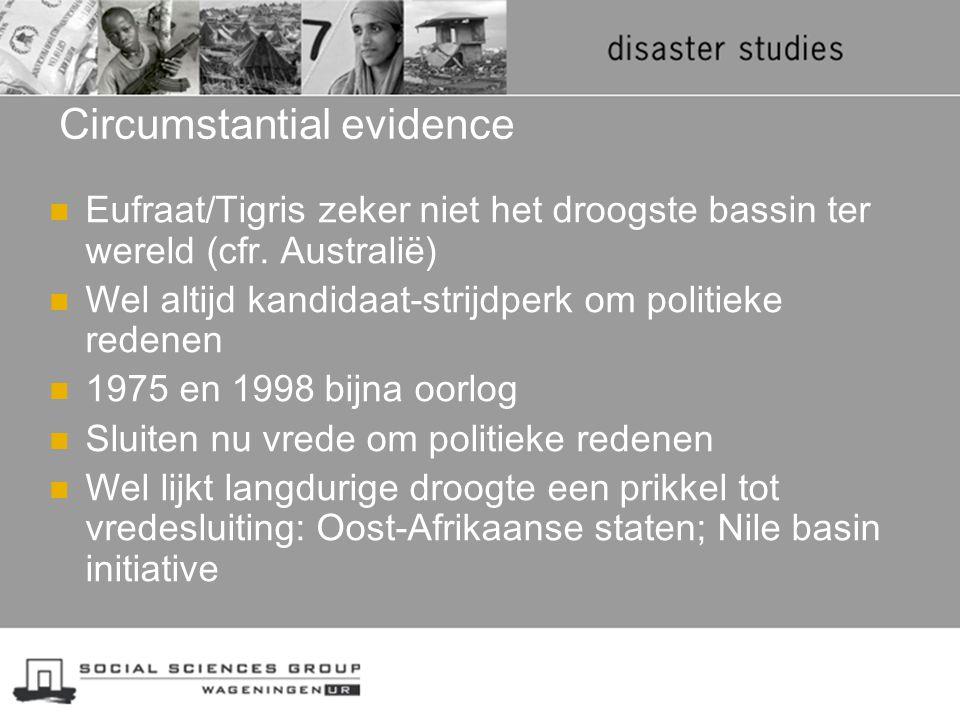 Circumstantial evidence Eufraat/Tigris zeker niet het droogste bassin ter wereld (cfr. Australië) Wel altijd kandidaat-strijdperk om politieke redenen