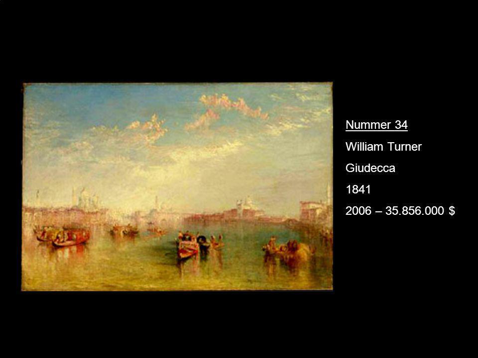 Nummer 34 William Turner Giudecca 1841 2006 – 35.856.000 $