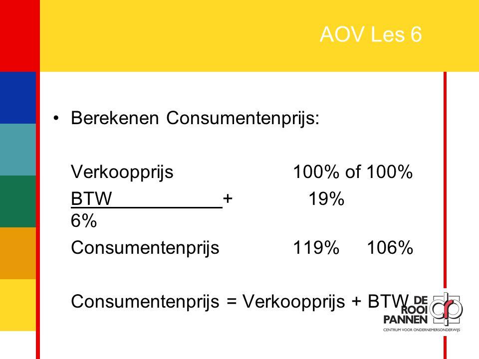 21 AOV Les 6 Berekenen Consumentenprijs: Verkoopprijs100% of 100% BTW + 19% 6% Consumentenprijs119% 106% Consumentenprijs = Verkoopprijs + BTW