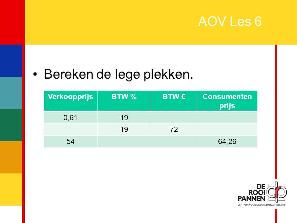 30 AOV Les 6 Bereken de lege plekken. VerkoopprijsBTW %BTW €Consumenten prijs 0,6119 72 5464,26