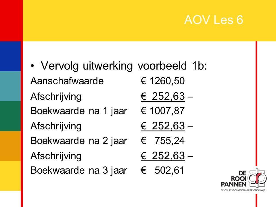 27 AOV Les 6 Belasting verrekenen: Te betalen aan de belasting Te vorderen van de belasting - Afdragen/Ontvangen Afdragen/Ontvangen = Te betalen aan de belasting – Te vorderen van de belasting