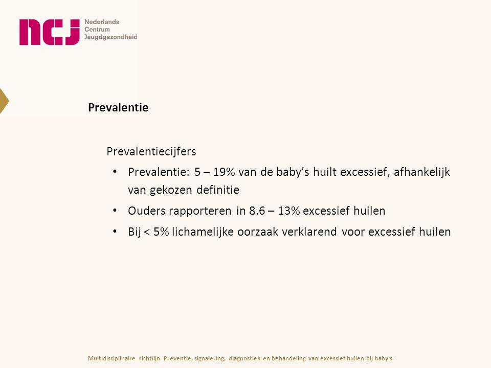 Hypothesen oorsprong excessief huilen (1|3) 1.Excessief huilen is onderdeel van normaal, aangeboren gedragsrepertoire 2.Ziekte of pijn ligt ten grondslag aan excessief huilen 3.Excessief huilen heeft interne oorzaak Vertraagde ontwikkeling 24 uurs ritme Afwijking in functioneren centrale zenuwstelsel Teken van moeilijk temperament Multidisciplinaire richtlijn Preventie, signalering, diagnostiek en behandeling van excessief huilen bij baby s
