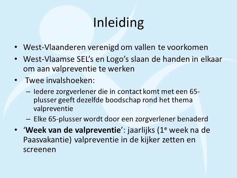 Inleiding West-Vlaanderen verenigd om vallen te voorkomen West-Vlaamse SEL's en Logo's slaan de handen in elkaar om aan valpreventie te werken Twee in