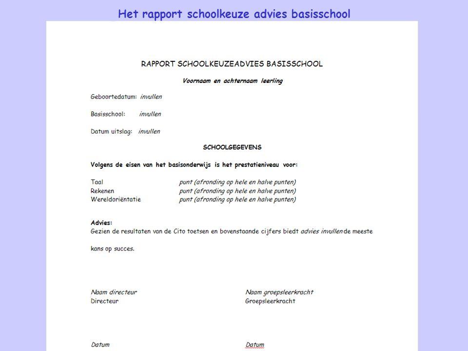 Het rapport schoolkeuze advies basisschool