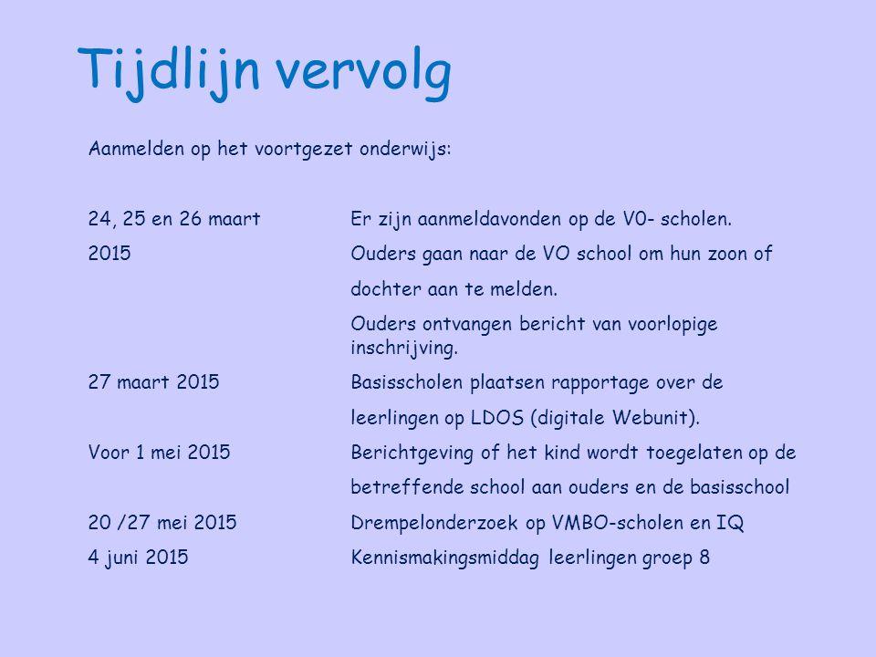 Aanmelden op het voortgezet onderwijs: 24, 25 en 26 maartEr zijn aanmeldavonden op de V0- scholen. 2015 Ouders gaan naar de VO school om hun zoon of d