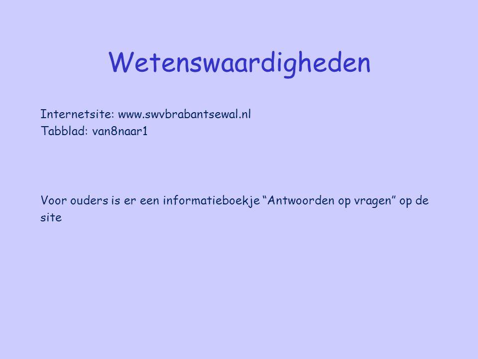 """Wetenswaardigheden Internetsite: www.swvbrabantsewal.nl Tabblad: van8naar1 Voor ouders is er een informatieboekje """"Antwoorden op vragen"""" op de site"""