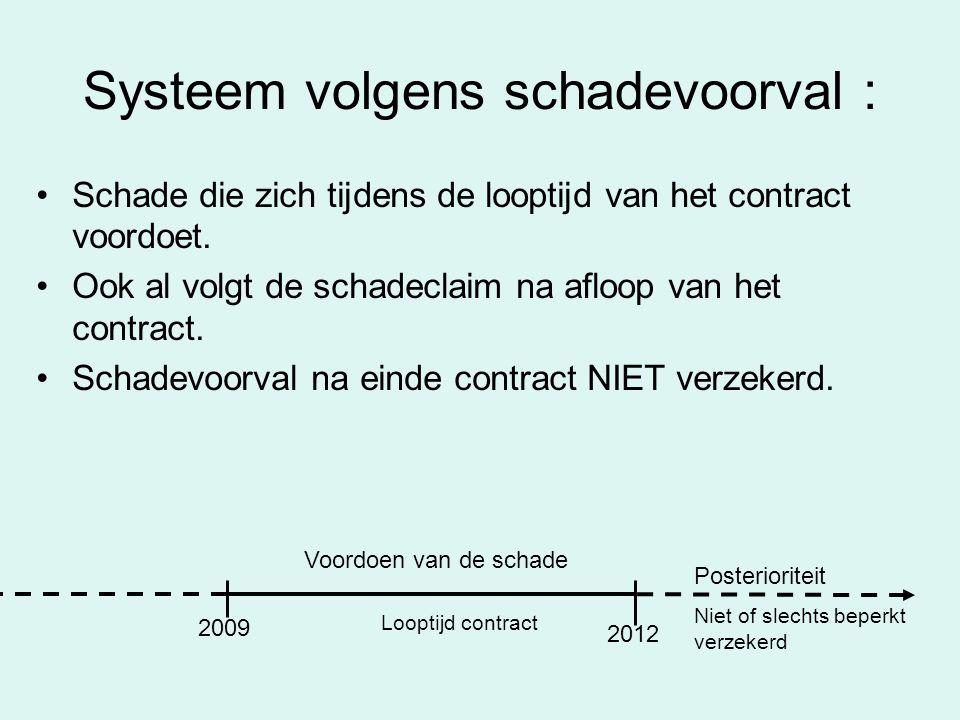 Systeem volgens schadevoorval : Schade die zich tijdens de looptijd van het contract voordoet. Ook al volgt de schadeclaim na afloop van het contract.