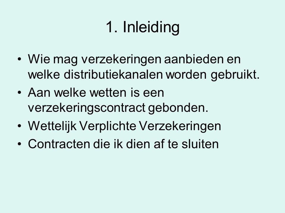 1. Inleiding Wie mag verzekeringen aanbieden en welke distributiekanalen worden gebruikt. Aan welke wetten is een verzekeringscontract gebonden. Wette