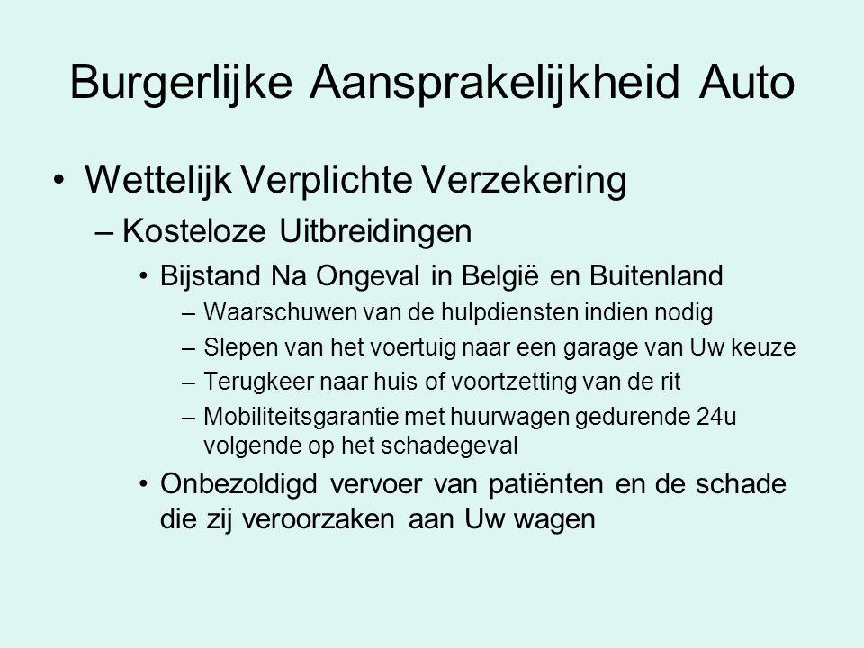 Burgerlijke Aansprakelijkheid Auto Wettelijk Verplichte Verzekering –Kosteloze Uitbreidingen Bijstand Na Ongeval in België en Buitenland –Waarschuwen