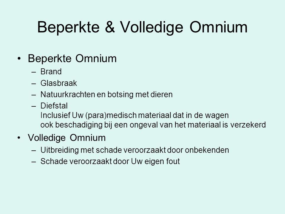 Beperkte & Volledige Omnium Beperkte Omnium –Brand –Glasbraak –Natuurkrachten en botsing met dieren –Diefstal Inclusief Uw (para)medisch materiaal dat