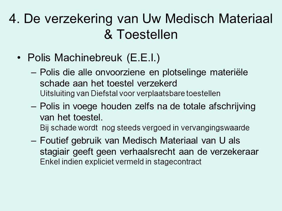 4. De verzekering van Uw Medisch Materiaal & Toestellen Polis Machinebreuk (E.E.I.) –Polis die alle onvoorziene en plotselinge materiële schade aan he