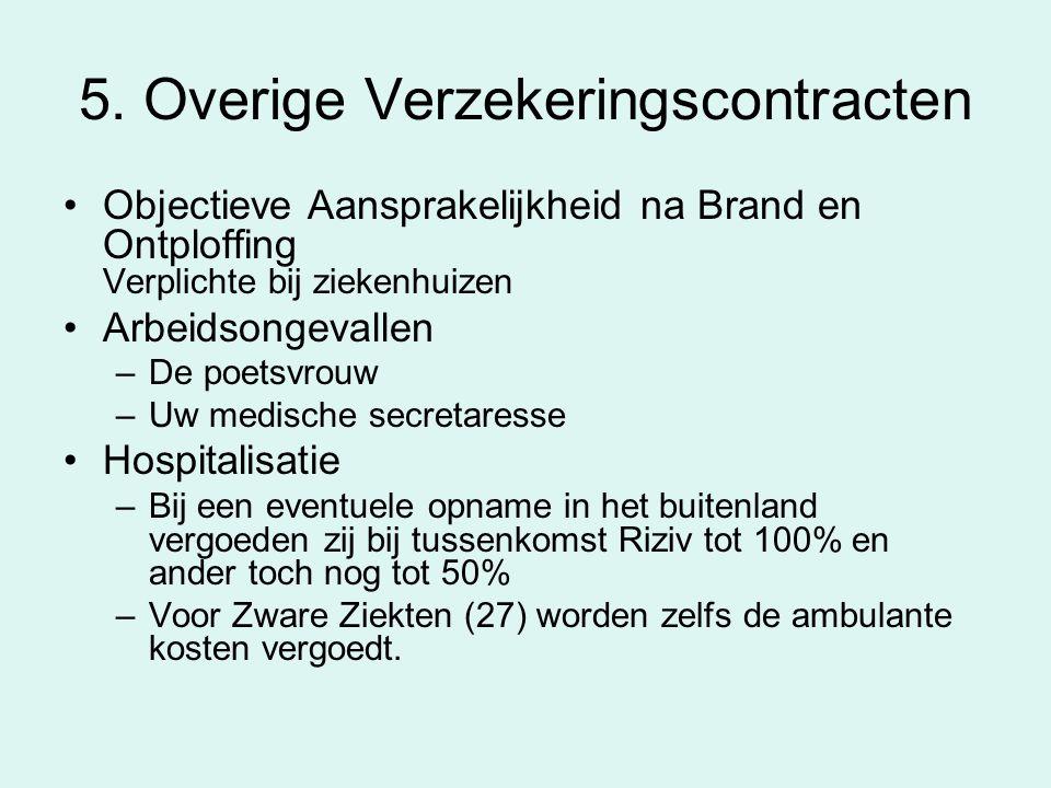 5. Overige Verzekeringscontracten Objectieve Aansprakelijkheid na Brand en Ontploffing Verplichte bij ziekenhuizen Arbeidsongevallen –De poetsvrouw –U