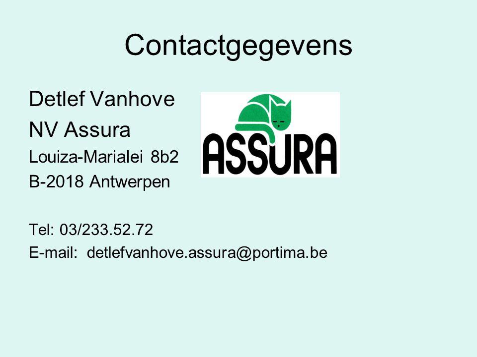 Contactgegevens Detlef Vanhove NV Assura Louiza-Marialei 8b2 B-2018 Antwerpen Tel: 03/233.52.72 E-mail: detlefvanhove.assura@portima.be