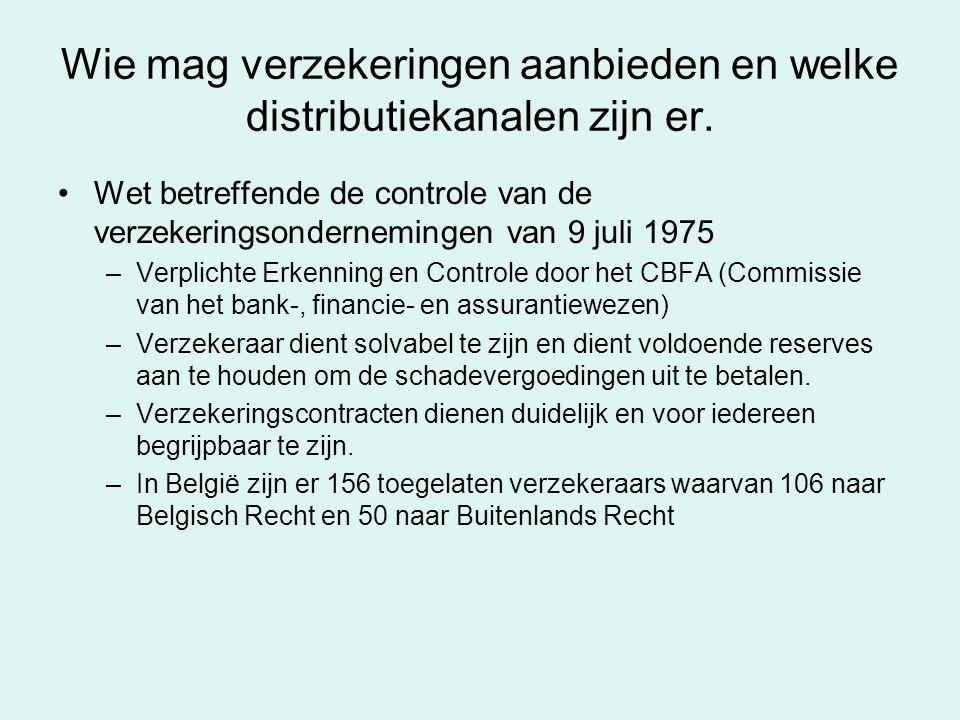 Wie mag verzekeringen aanbieden en welke distributiekanalen zijn er. Wet betreffende de controle van de verzekeringsondernemingen van 9 juli 1975 –Ver
