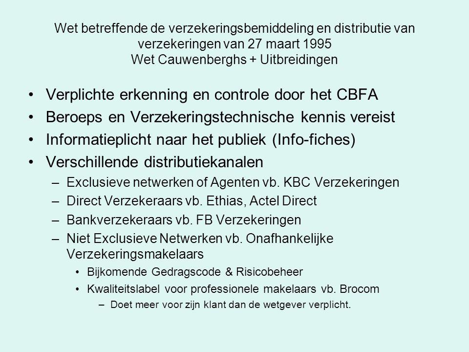 Wet betreffende de verzekeringsbemiddeling en distributie van verzekeringen van 27 maart 1995 Wet Cauwenberghs + Uitbreidingen Verplichte erkenning en