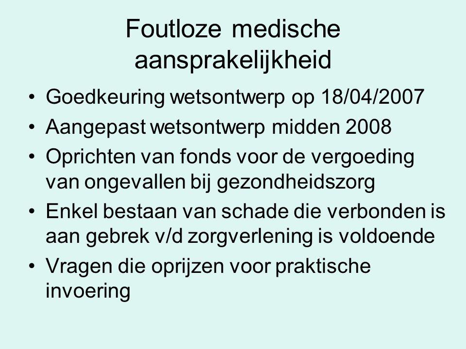 Foutloze medische aansprakelijkheid Goedkeuring wetsontwerp op 18/04/2007 Aangepast wetsontwerp midden 2008 Oprichten van fonds voor de vergoeding van
