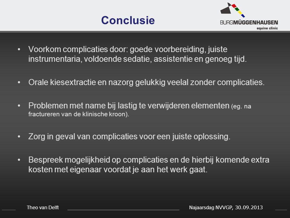 Theo van Delft Najaarsdag NVVGP, 30.09.2013 Conclusie Voorkom complicaties door: goede voorbereiding, juiste instrumentaria, voldoende sedatie, assist