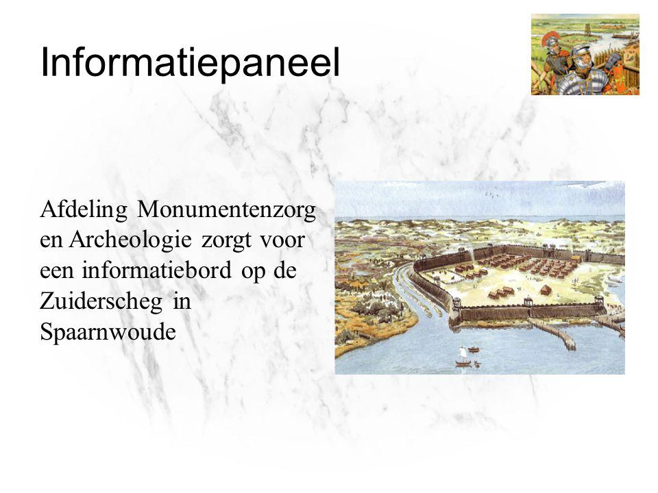 Informatiepaneel Afdeling Monumentenzorg en Archeologie zorgt voor een informatiebord op de Zuiderscheg in Spaarnwoude