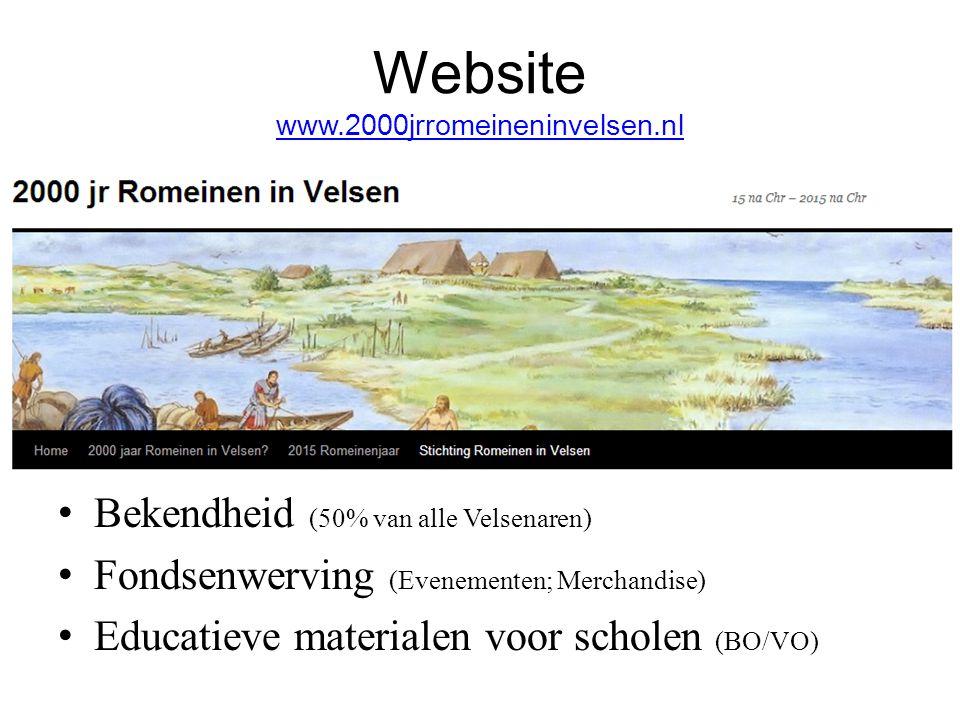 Website www.2000jrromeineninvelsen.nl www.2000jrromeineninvelsen.nl Bekendheid (50% van alle Velsenaren) Fondsenwerving (Evenementen; Merchandise) Edu