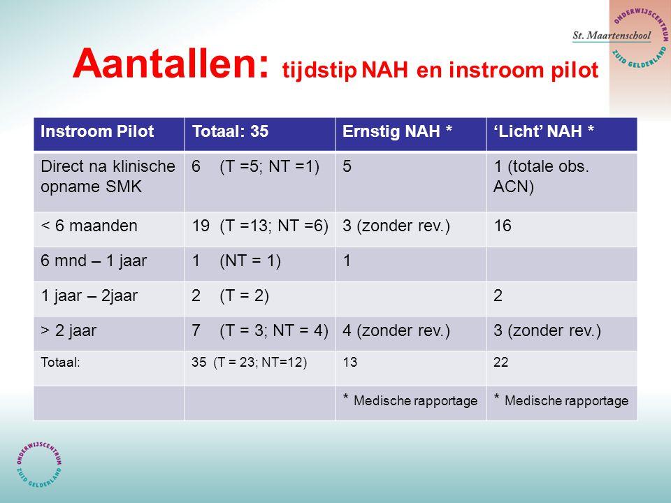 Aantallen: tijdstip NAH en instroom pilot Instroom PilotTotaal: 35Ernstig NAH *'Licht' NAH * Direct na klinische opname SMK 6 (T =5; NT =1)51 (totale