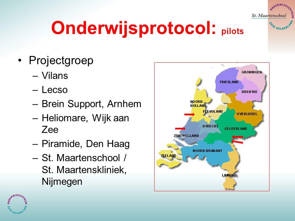 Onderwijsprotocol: pilots Projectgroep –Vilans –Lecso –Brein Support, Arnhem –Heliomare, Wijk aan Zee –Piramide, Den Haag –St. Maartenschool / St. Maa