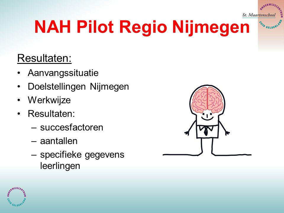 NAH Pilot Regio Nijmegen Resultaten: Aanvangssituatie Doelstellingen Nijmegen Werkwijze Resultaten: –succesfactoren –aantallen –specifieke gegevens leerlingen