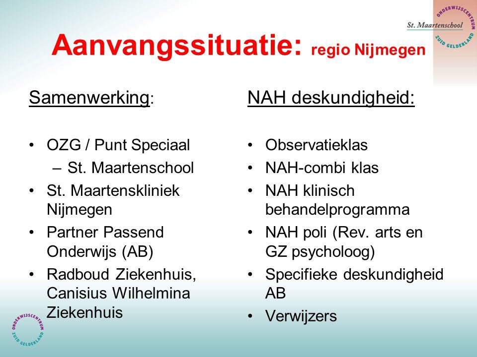 Aanvangssituatie: regio Nijmegen Samenwerking : OZG / Punt Speciaal –St. Maartenschool St. Maartenskliniek Nijmegen Partner Passend Onderwijs (AB) Rad